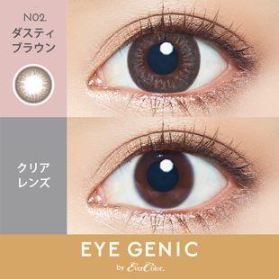 アイジェニック EYEGENIC(アイジェニック) by evercolor 1ヶ月 2枚/箱 (度なし) N02 ダスティブラウン の画像 2