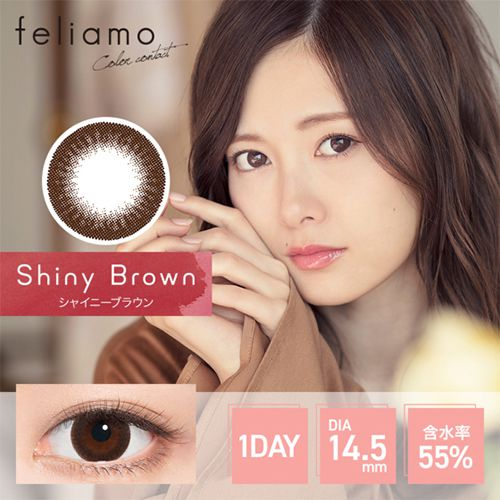 フェリアモのフェリアモ ワンデー シャイニーブラウン_ ±0.00 10枚 3箱(1箱無料) DIA 14.5mm BC 8.6mmに関する画像2