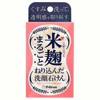 ペリカン石鹸 ペリカン石鹸 MAMA CHAPO 米麹まるごとねり込んだ洗顔石けん 本体 75g 日本酒の香りの画像
