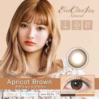 エバーカラー エバーカラーワンデーナチュラル モイストレーベル UV 20枚/箱 (度なし) アプリコットブラウンの画像