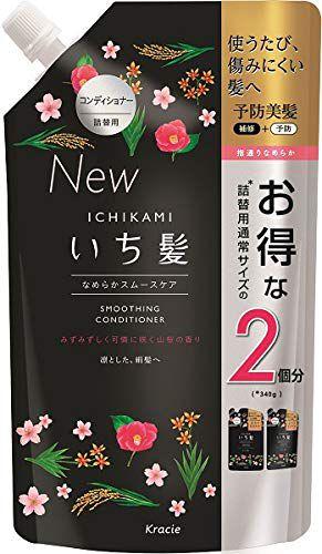 いち髪 いち髪 Ichikami なめらかスムースケア コンディショナー コンディショナー 詰替用2回分 680g みずみずしく可憐な山桜七分咲きの香りの画像