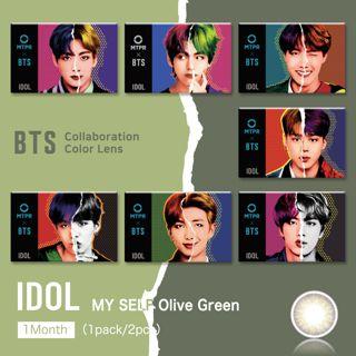 MTPR×BTS IDOL マンスリー 2枚/箱 (度なし) My Self Olive Greenの画像