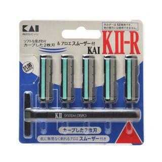 貝印 KAI KII-R ひげそり用カミソリ アロエスムーザー付/貝印の画像