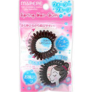 マペペ シャンテイスプリングヘアゴム 2P ブラウン&ブラックの画像