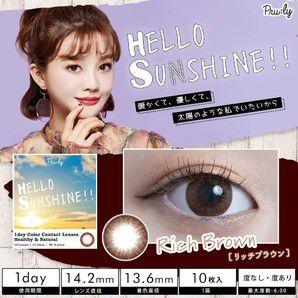HELLO SUNSHINE!! ハローサンシャイン ワンデー 10枚/箱 (度なし) リッチブラウン の画像 0