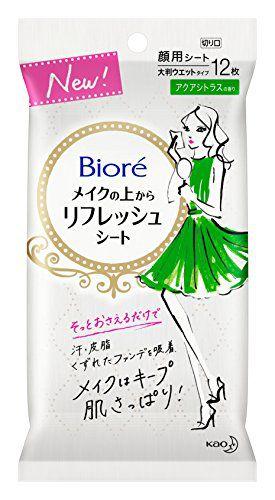 ビオレ ビオレ Biore メイクの上からリフレッシュシート 本体 大判12枚入 アクアシトラスの香りの画像