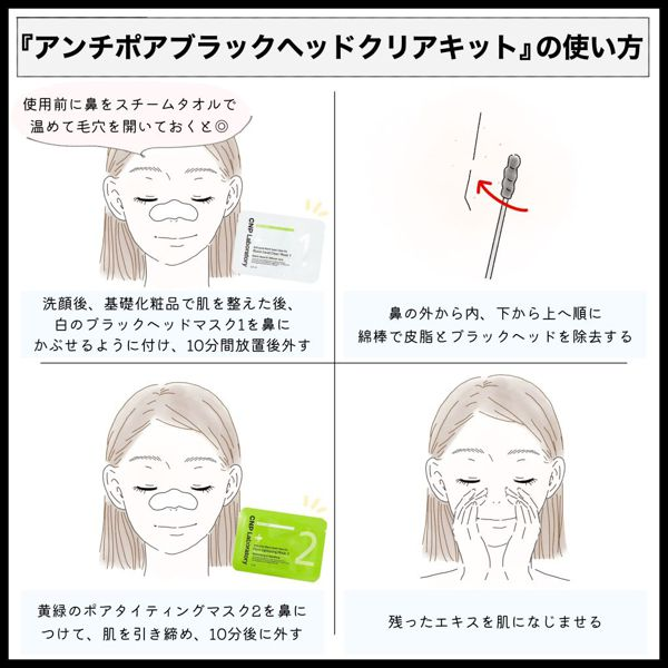 CNP『アンチポアブラックヘッドクリアキット』で毛穴ケア!口コミと使い方をチェックの画像