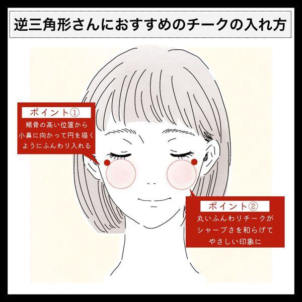 【チークの入れ方徹底解説】丸顔や面長など顔型別おすすめテクニック♡ なりたい印象別もの画像